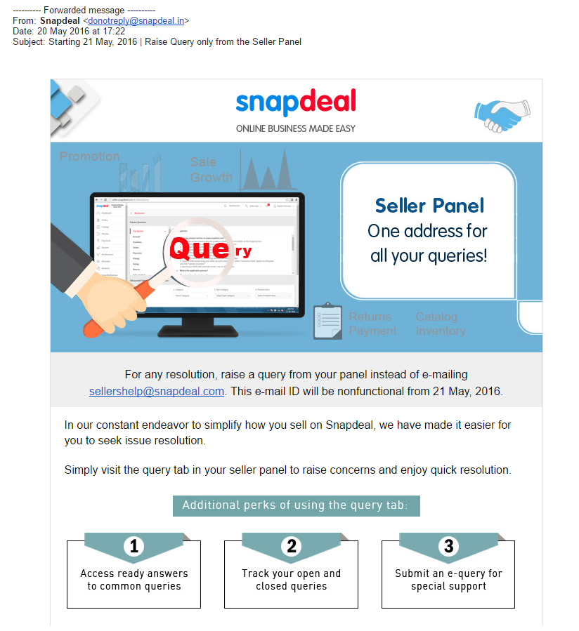 (Snapdeal email to online sellers)