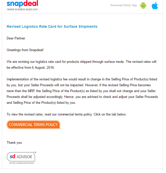 (Email from Snapdeal to its sellers)