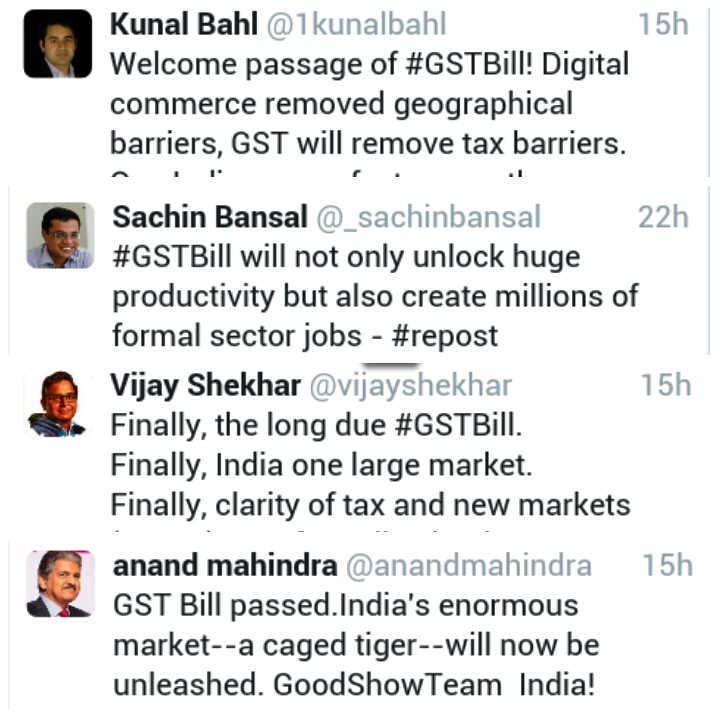 GST Bill passed reactions