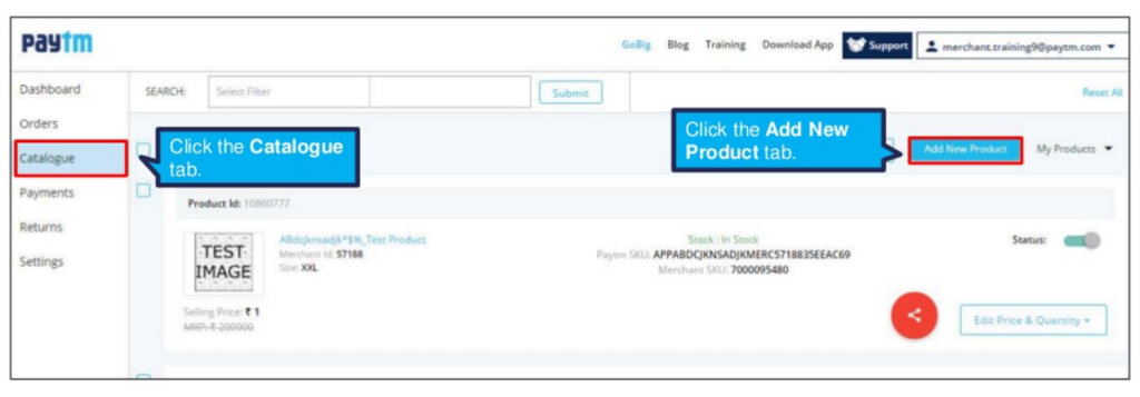 How to catalogue bulk products on Paytm First sign into the Paytm seller panel and select the catalogue option on the left of the screen. Now select the Add New Product button on the right. The new screen will show the option Create New Products in Bulk select that option.