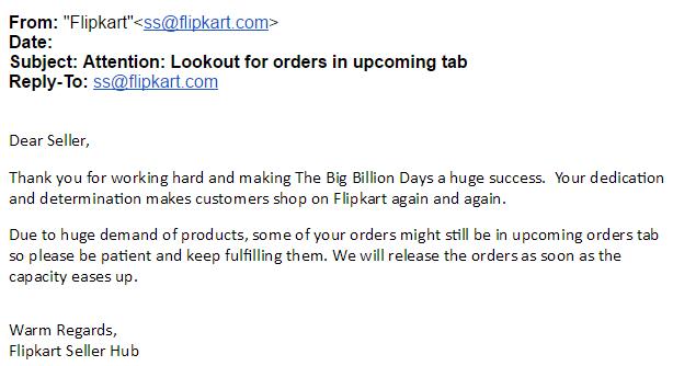 Flipkart email to online sellers