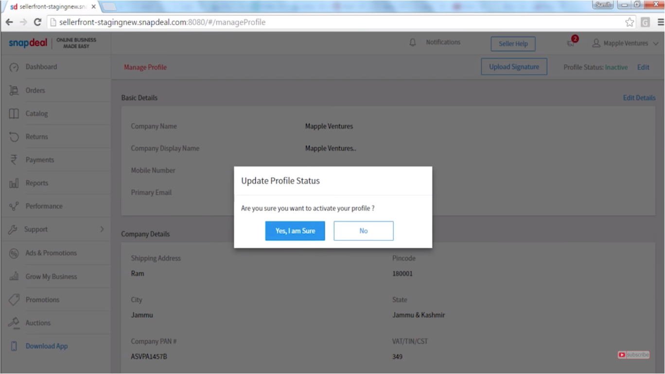 seller snapdeal login page