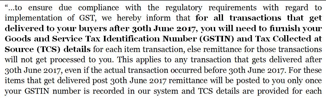 Ebay GSTIN remittance