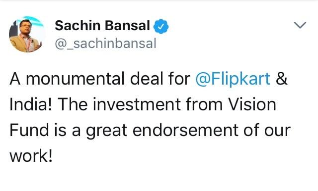 Flipkart_Softbank_Sachin Bansal  tweet